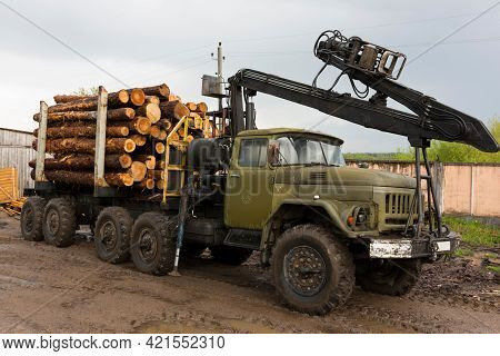 Transportation Of Wood On A Truck. Industrial Truck For Transporting Timber. Renewable Natural Resou