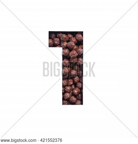 Number One Of Chocolate Cereal Balls, White Cut Paper. First Numeral. Typeface For Healthy Breakfast