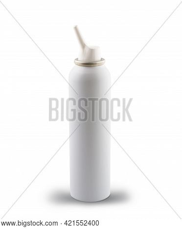 White Jar With Nasal Spray, Sea Water For Cleansing. Isolated On White. Copy Space.
