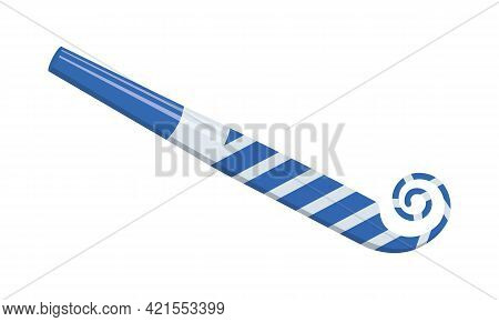 Unrolling Party Horn, Sound Whistle, Birthday Blower. Striped Blue And Silver Noise Maker Isolated O