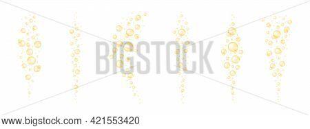 Golden Shiny Bubbles Streaming Set. Glossy Collagen, Serum, Jojoba Cosmetic Oil, Vitamin A Or E, Ome