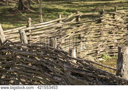 Traditional Wattle Hurdle, Willow Hurdle Fence In The Ukrainian Village