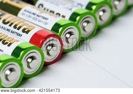 Moscow, Russia - January 04, 2016: Used Alkaline Batteries Aa Size Format With Green Top And One Wit