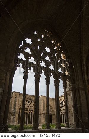 Lleida, Spain, May 1, 2020 - Typical Gothic Architecture La Seu Vella Cathedral: Vaults, Colonnade,