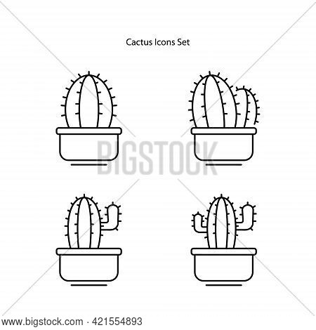 Cactus Icon Isolated On White Background. Cactus Icon Thin Line Outline Linear Cactus Symbol For Log