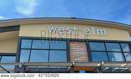 The Exterior Storefront Of A West Elm Midcentury Modern Furniture Store In Orlando, Florida.