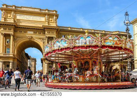 Florence, Italy - Circa September 2018. Carousel (antica Giostra Toscana) At Piazza Della Repubblica