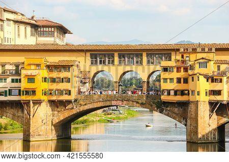 Florence, Italy - Circa September 2018. View Of Famous Ponte Vecchio Bridge On The River Arno.