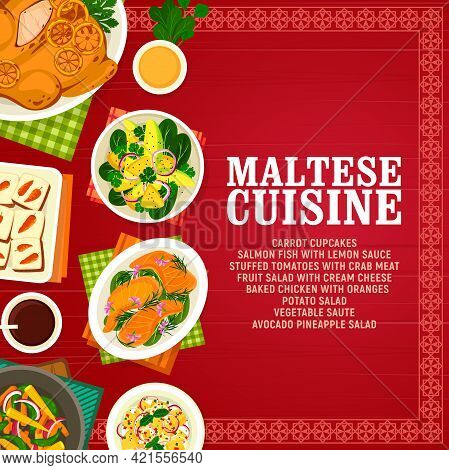 Maltese Cuisine Vector Carrot Cupcakes, Salmon Fish With Lemon Sauce And Stuffed Tomatoes With Crab