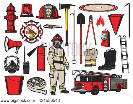Firefighter Equipment And Fire Fighting Tools. Vector Icons Of Fire Department Car, Alarm, Extinguis