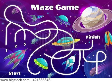 Kids Labyrinth Maze In Space Planets, Vector Puzzle Tabletop Game. Galaxy Space Labyrinth Maze Or Bo