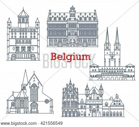 Belgium Travel Landmarks, Architecture Buildings, Vector Belgian Sightseeing Icons. Church Of St Ger
