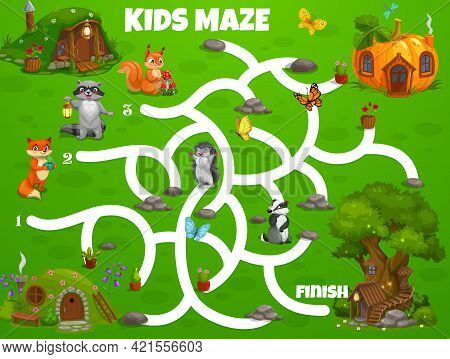Kids Labyrinth Maze Game Fairy Houses And Dwellings. Vector Boardgame Help Forest Animals Find Homes