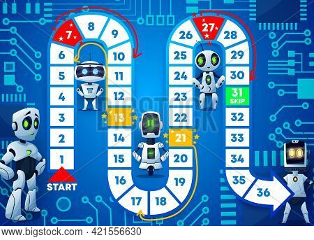 Boardgame With Cartoon Funny Robots. Kids Playing Activities Book Page Template, Roll And Move Game
