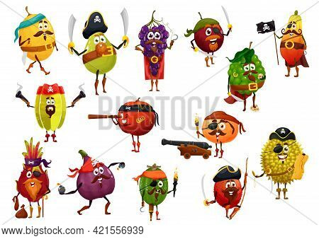 Exotic Fruit Pirate Cartoon Characters With Vector Pirate Captain, Corsairs And Buccaneers. Mango, T