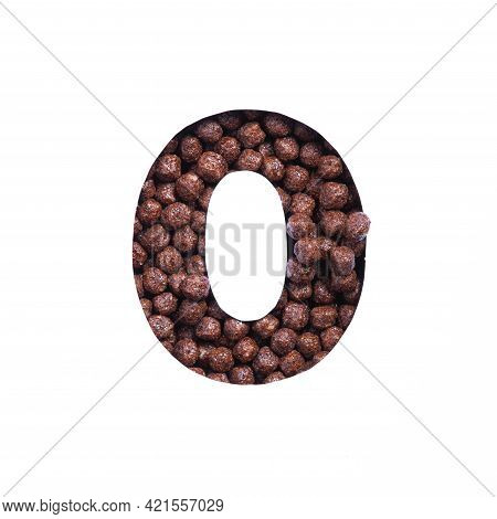 Number Zero Of Chocolate Cereal Balls, White Paper Cut In Shape Of Null Numeral. Typeface For Health