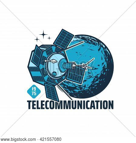 Telecommunication Vector Satellite With Communication Antennas And Solar Panels In Space With Planet
