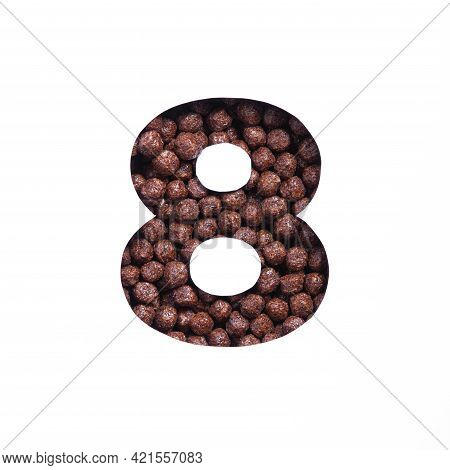Number Eight Of Nutritional Chocolate Cereal Balls, White Cut Paper. Eighth Numeral. Typeface For He