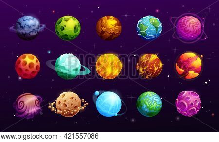 Cartoon Space Planets Of Vector Fantasy Alien Galaxy Universe, Space Game Ui Or Gui. Planets And Sta