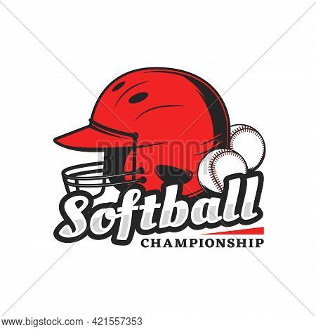 Softball Championship Icon With Red Player Helmet And Balls. Vector Emblem For Baseball Tournament.