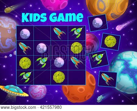 Kids Puzzle Game Space Planets And Shuttles. Vector Riddle With Cartoon Rockets, Alien Ufo And Cosmi