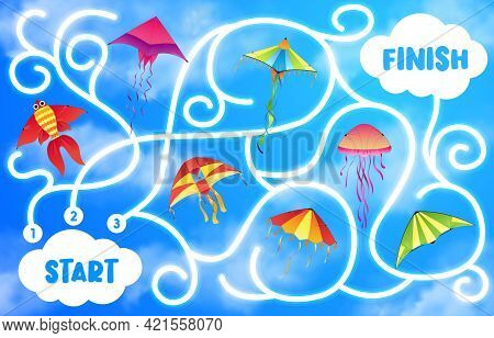 Kids Labyrinth Maze Game With Vector Background Of Kites Flying In Blue Sky. Start To Finish Puzzle,