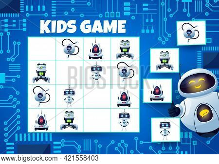 Sudoku Kids Game With Robots And Motherboard. Child Logical Game, Math Quiz Or Crossword, Riddle Wit