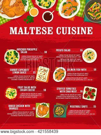Maltese Cuisine Vector Carrot Cupcakes, Salmon Fish With Lemon Sauce, Fruit Salad With Cream Cheese.