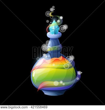 Cartoon Potion Bottle With Rainbow, Vector Magic Elixir In Glass Flask With Crystal Bung, Colorful L
