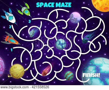 Labyrinth Maze Game Spaceships And Planets. Kids Vector Board Game With Rockets In Space. Boardgame