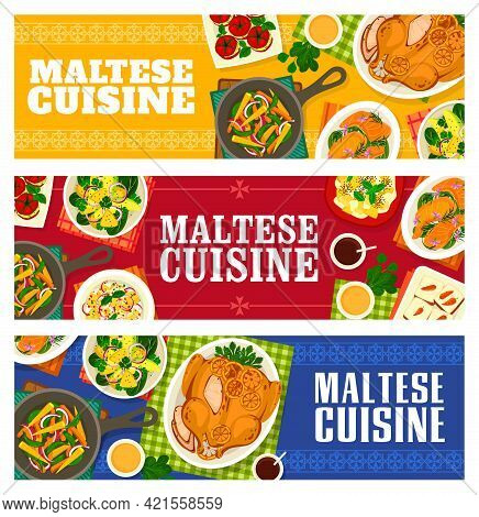 Maltese Cuisine Vector Baked Chicken With Oranges, Carrot Cupcakes And Salmon Fish With Lemon Sauce.