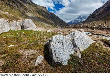 Rocks in Lahaul Valley in indian Himalayas. Himachal Pradesh, India India