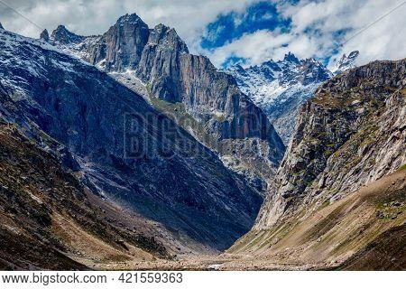 Himalayas mountains Lahaul Valley in indian Himalayas and Chandra river. Himachal Pradesh, India India