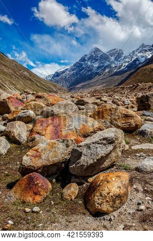 Stone boulders in Lahaul Valley in indian Himalayas. Himachal Pradesh, India India