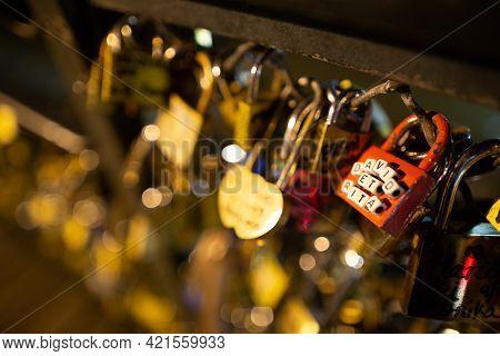 Paris, France, 1.11.2019 - Love Locks Selective Focus On Pedestrian Bridge Ponts Des Arts. Paris - C