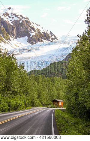 Exit Glacier In Alaska From The Roadway