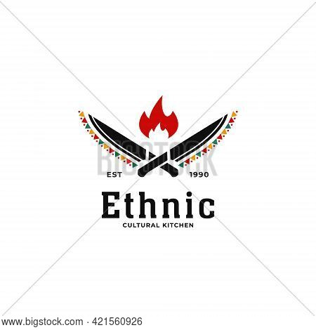 Ethnic Traditional African Cultural Kitchen Soul Restaurant Logo With Knife And Hot Fire Icon