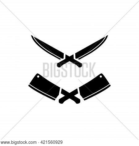 Crossed Knife And Butcher Knife Logo Icon Symbol Template