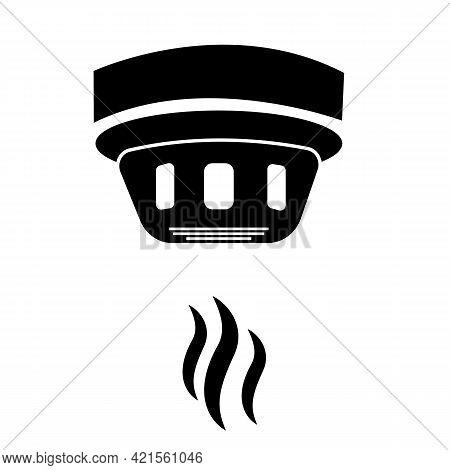 Smoke Detector Icon On White Background. Smoke Alarm System Sign. Smoke Alarm Detector System. Flat