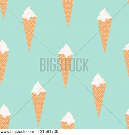 Vector seamless pattern with waffle cones Flat design Classic vanilla ice cream on turquoise background