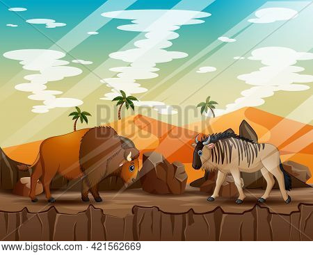 Cartoon A Wildebeest And Bison On The Cliff