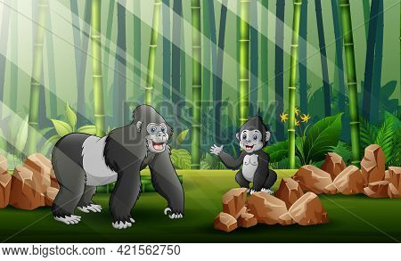 Cartoon A Big Gorilla With Her Cub In The Forest Background