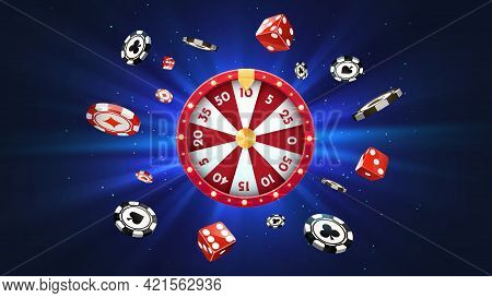 Vector 3d Fortune Wheel With Golden Flying Coins On Blue Abstract Background. Spin Casino Roulette A