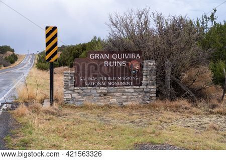 Mountainair, New Mexico - May 7, 2021:  Welcome Sign For The Gran Quivira Ruins, An Historical Spani