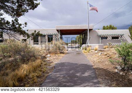 Mountainair, New Mexico - May 7, 2021:  Visitor Center For The Gran Quivira Ruins, An Historical Spa