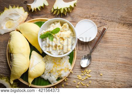 Durian Sticky Rice Summer Tropical Fruit Food, Asian Thai Dessert Tropical Sweet Durian Peel With Ye