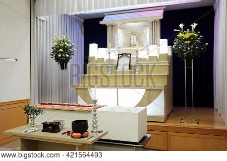 Kagawa, Japan - May 18, 2021 : The Funeral Of Sadae Yokoyama, Style Of A Japanese Small General Fune