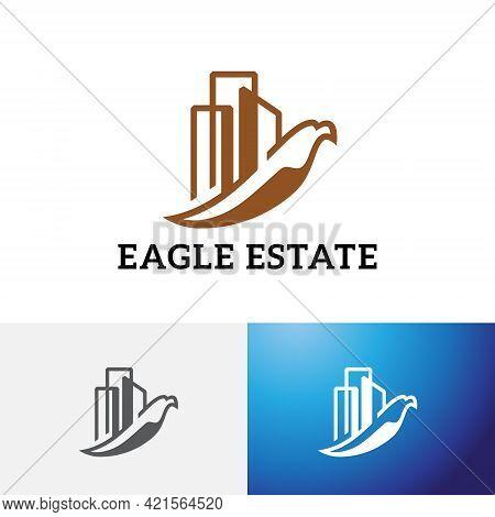 Eagle Hawk Bird City Building Real Estate Logo.