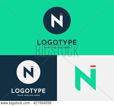 Letter N, Ni Modern Icon With A Circle And A Dot Round Logo In Blue, Green And, White Colors. Elegan