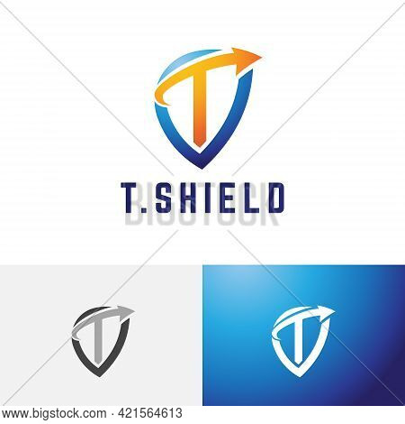 T Letter Arrow Shield Strong Safe Guard Protection Logo.